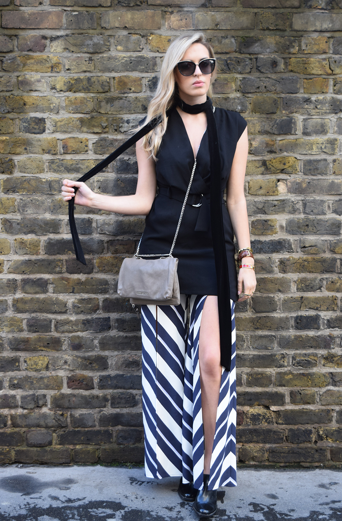 stripes trousers slit, fashion week, street style fashion week
