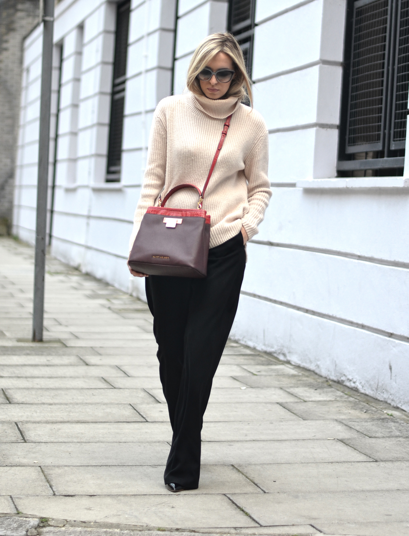 black flare trousers, roll neck jumper